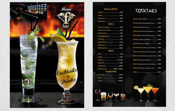F-Bar – cocktail menu
