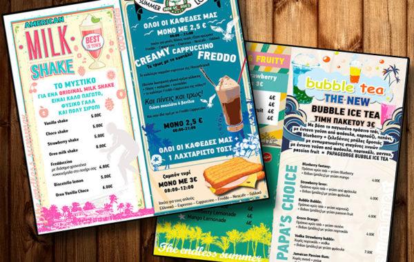Summer Drinks menu